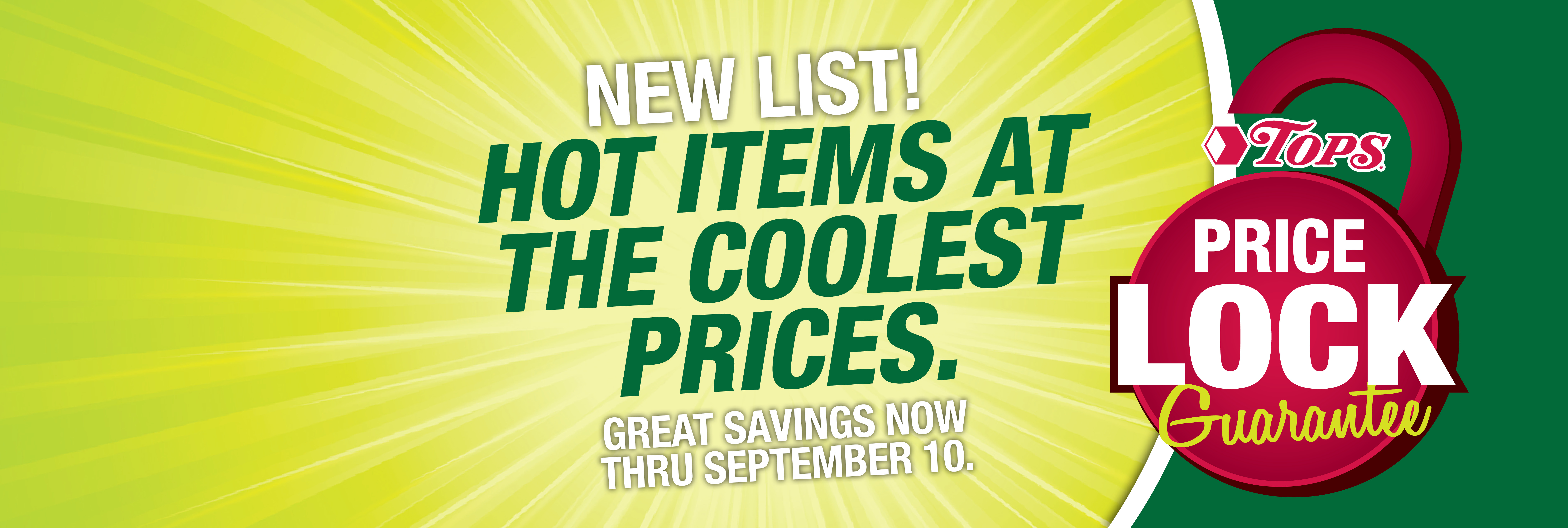 New Price Lock Items Through September 10