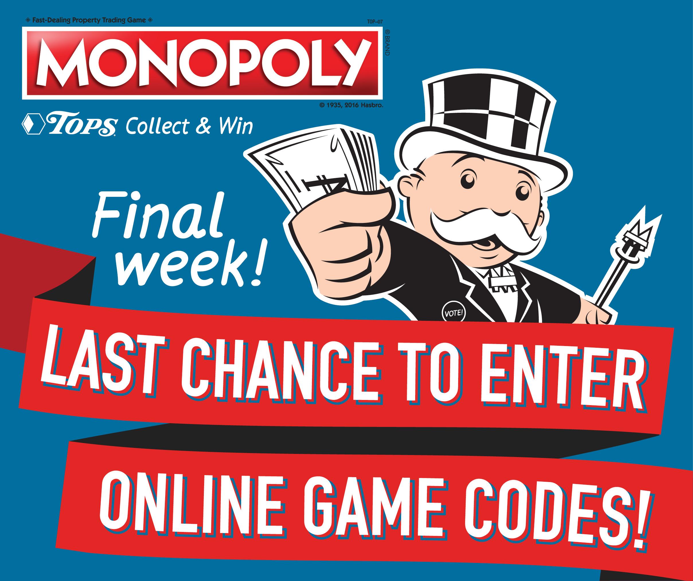 Final Weeks TOPS Monopoly Play Online