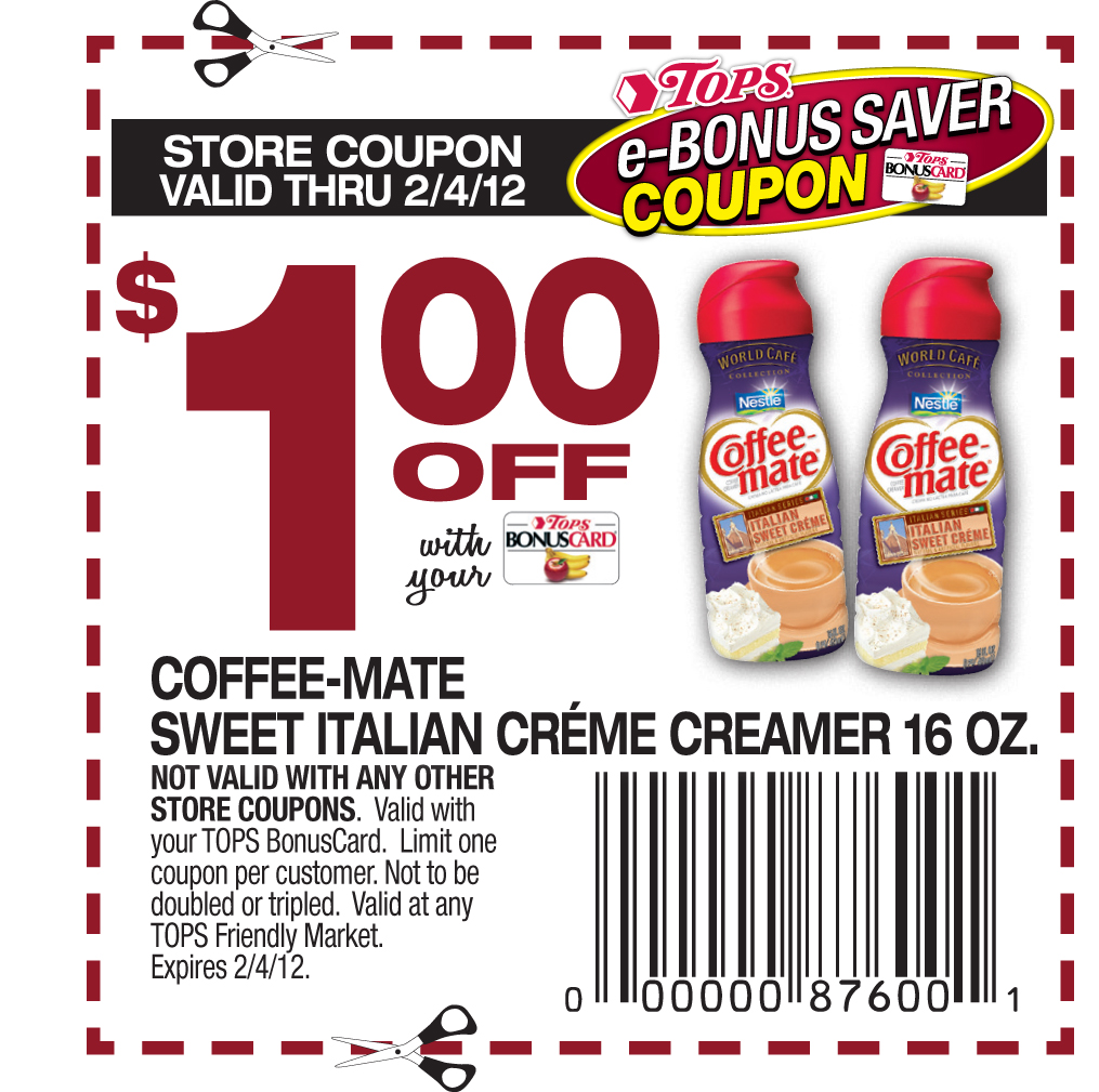 Creamer coupons can be found online for $$ off. Stock up on name brand creamers for $ and generic or half and half creamers for.